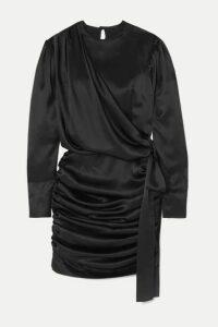 MATÉRIEL - Gathered Silk-satin Mini Dress - Black