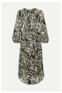 Veronica Beard - Mavis Animal-print Silk-chiffon Midi Dress - Black