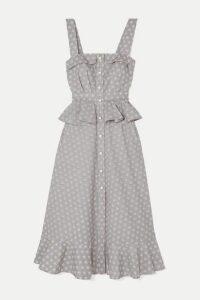 Anna Mason - Olivia Ruffled Printed Cotton Midi Dress - Gray