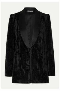Alice + Olivia - Macey Satin-trimmed Crushed-velvet Blazer - Black