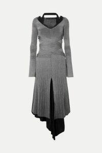 Proenza Schouler - Metallic Ribbed-knit Midi Dress - Silver