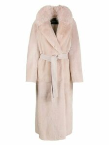 Blancha long belted coat - PINK