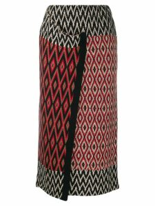 Semicouture wrap-style knitted skirt - Red
