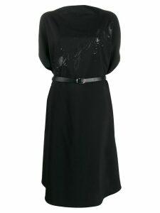 Mm6 Maison Margiela logo-print midi dress - Black