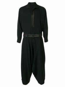 Yohji Yamamoto asymmetrical belted coat - Black