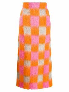 Kenzo knitted checkered skirt - Orange