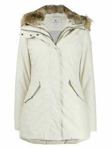 Woolrich zipped hooded parka coat - NEUTRALS