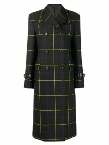 Paul Smith checked double breasted coat - Black