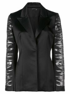 Josie Natori embroidered satin blazer - Black