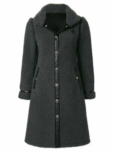 Loveless faux shearling midi coat - Grey