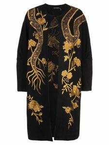 Josie Natori embroidered dragon coat - Black