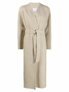 Agnona belted long length coat - NEUTRALS