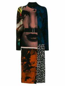 Paul Smith print mix single breasted coat - Black