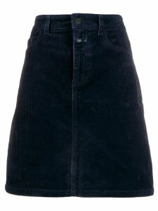 Closed high waisted corduroy skirt - Blue
