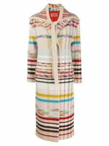 Missoni striped knit coat - NEUTRALS