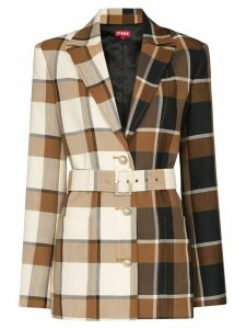 Staud asymmetric check print blazer - Brown