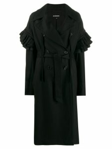 Ann Demeulemeester ruffled sleeves double breasted coat - Black