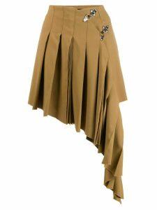 Rokh asymmetric pleated skirt - Brown