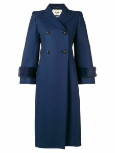 Fendi embellished double breasted coat - Blue