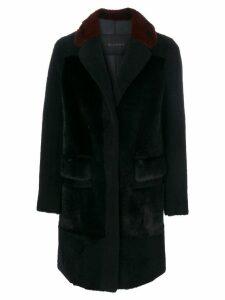Blancha panelled contrast collar coat - Blue