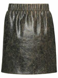 Miu Miu Craquelé nappa leather skirt - Black