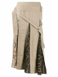 Rokh panelled asymmetric skirt - Brown