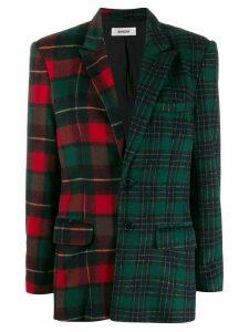 Danielle Guizio asymmetric plaid blazer - Green