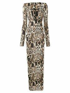 Alexandre Vauthier deep v-neck leopard dress - Brown