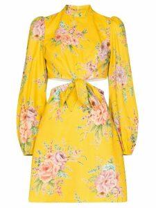 Zimmermann Zinnia cut-out floral-print mini dress - Yellow