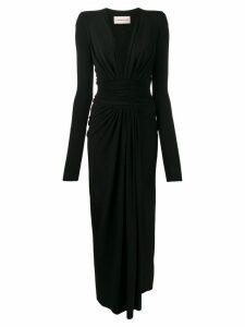 Alexandre Vauthier deep v-neck ruched dress - Black