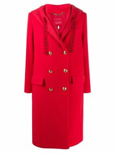 Escada hooded double-breasted coat - Red