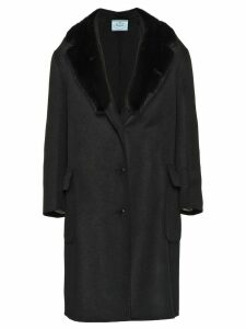 Prada fur-trimmed lapel coat - Black