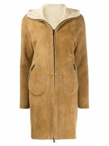 Giorgio Brato zip front shearling coat - Neutrals