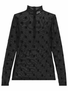 Burberry monogram motif sheer top - Black