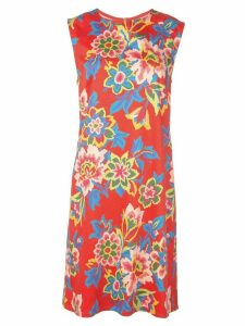 Carolina Herrera pixelated floral print dress - Red