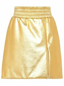 Miu Miu laminated A-line skirt - GOLD