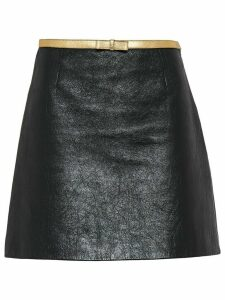 Miu Miu Shiny nappa leather skirt - Black