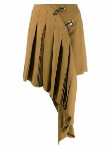 Rokh asymmetric pleat skirt - Brown