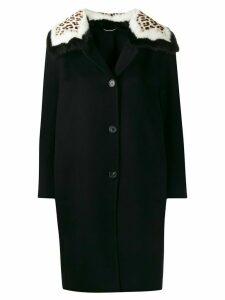 Ermanno Scervino leopard-print collar cocoon coat - Black
