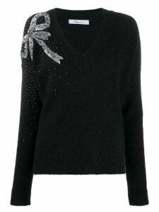 Blumarine Bow embellished jumper - Black
