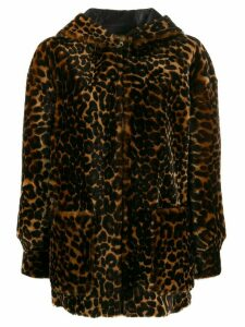 Sandro Paris Catty leopard-print coat - Brown