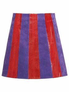 Miu Miu Suede and eel skin skirt - Red
