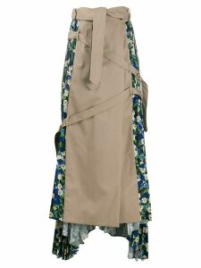 Rokh pleated floral-print skirt - NEUTRALS