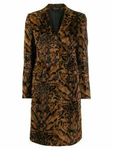Tagliatore leopard print coat - Brown