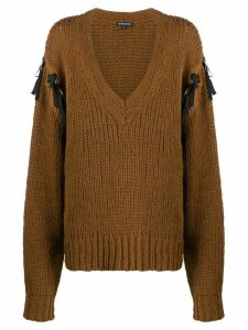 Ann Demeulemeester tied sleeve jumper - Brown