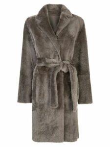 Yves Salomon belted midi coat - Grey