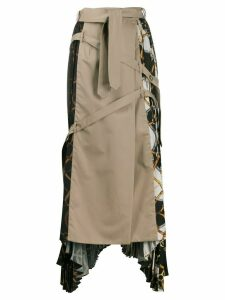 Rokh pleated print-mix skirt - NEUTRALS