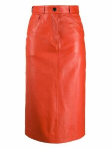 Paul Smith leather pencil skirt - ORANGE