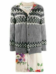 Junya Watanabe layered mixed fabric coat - Grey