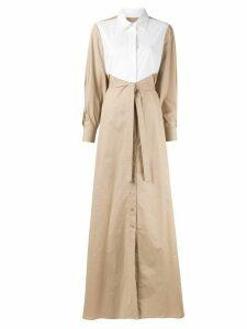 Paule Ka colour-block shirt maxi dress - Brown
